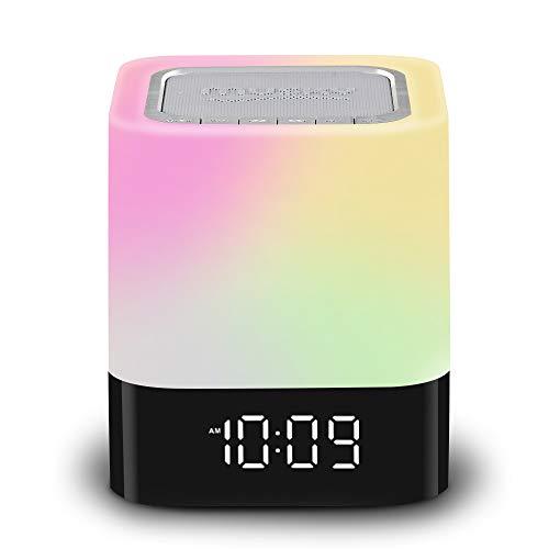 LED Nachttischlampe mit Bluetooth Lautsprecher, Nachtlampe Dimmbar Digitale Uhrzeit Lichtwecker 4000mAh USB Aufladung Geschenk für Kinder