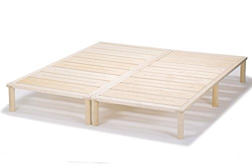 Gigapur G1 26974 Bett | Bettgestell mit Lattenrost | Bettrahmen belastbar bis 195 Kg | Holzbett 140 x 200 cm (2 x 70 x 200 cm)