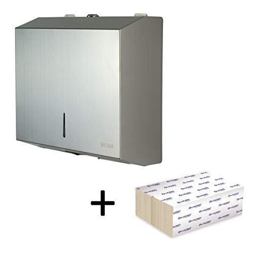 mosa Papierspender Edelstahl Handtuchspender Handtuchpapierspender abschließbar bis 400 Blatt Edelstahl 201 inkl. 200 Blatt Papier Z-Falz