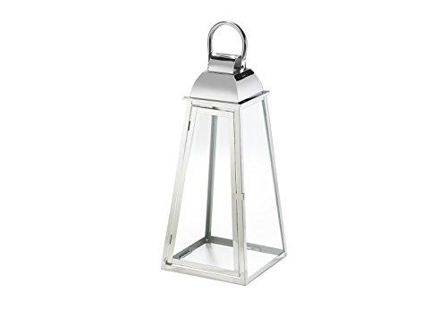 Laterne Windlicht PARIS aus Glas und Edelstahl Kerzenhalter Edelstahllaterne groß