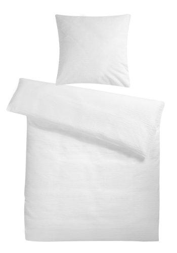 Carpe Sonno leichte super weiche Seersucker Bettwäsche Weiß Uni 135 x 200 cm - Kühle Sommer-Bettbezüge ohne Muster aus 100% gekämmter Baumwolle - Modern einfarbig bügelfrei Bettwaren-Garnitur