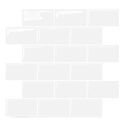Render 6 Stücke 3D Selbstklebende Wandfliesen Aufkleber, Peel und Stick Vinyl Tapete Anti Mold Badezimmer Esszimmer Küche Hotel Dekoration 10,2'x 11,8' 0,84 sq.ft/Piece (Weiß Keramikfliesen Stil)