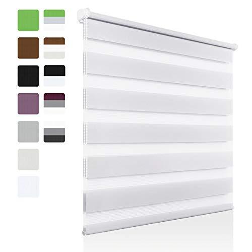 OUBO Doppelrollo Klemmfix ohne Bohren 85 x 150 cm (B x H) Weiß Fenster Duo Rollo