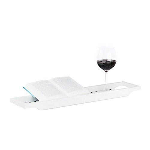 Relaxdays Badewannenablage aus Bambus, Badewannenbrett, Tablett für Badewanne, HxBxT: 4 x 65 x 15 cm, weiß lackiert