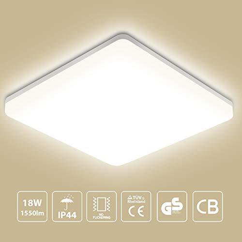 LED Deckenleuchte Badleuchte, 18W 1550lm, Oeegoo Badezimmerlampe IP44 Deckenlampe Bürodeckenleuchte Für Bad Balkon Wohnzimmer Schlafzimmer 28 * 28 * 4.8/CM 4000K