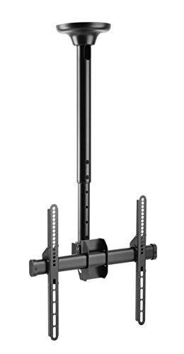 RICOO TV Halterung Decke Deckenhalterung D0244 Universal Curved LCD Fernseher Halter Drehbar Schwenkbar 360 Grad Neigbar Höhenverstellbar 81-140cm 32' - 55' Zoll VESA 200x200 400x400 Schwarz