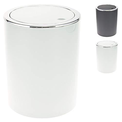 bremermann Kosmetikeimer mit Schwingdeckel, Badeimer, Kunststoff, 5,5 Liter (Weiß)