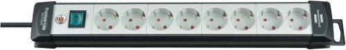 Brennenstuhl Premium-Line, Steckdosenleiste 8-fach (Steckerleiste mit Schalter und 5m Kabel - 45° Anordnung der Steckdosen) Farbe: lichtgrau / schwarz