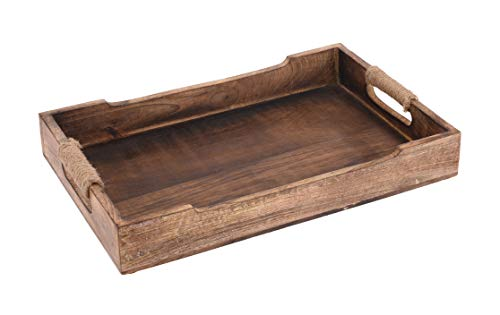 Meinposten. Tablett Serviertablett Holz Mango braun Holztablett Deko Dekotablett Dunkelbraun (Mittel (38 x 25 cm))
