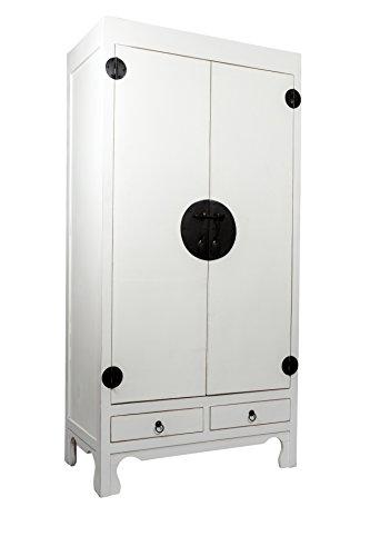 SAM Hochzeitsschrank Mian aus Mahagoni, weiß lackiert, mit 2 Türen + Schubladen, Design-Dielenschrank aus Massivholz, Unikat, 90 x 50 x 180 cm