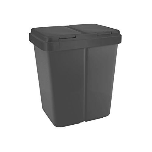 Zweimer Duo Müllbehälter mit Deckel Kunststoff Mülleimer für die Küche geruchsdichter Abfalleimer Mülltrennsystem 2 x ca. 25 Liter - Farbe: Anthrazit