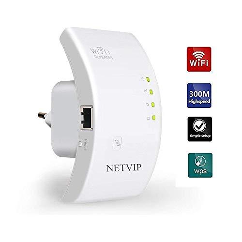 NETVIP WLAN-Repeater Wireless Netz Signal WLAN Verstärker 300Mbit/s (LAN Port, WPS Taste, EU Stecker) WiFi Range Extender Mini WLAN Verstaerker Receiver Kompatibel mit Allen WLAN Geräte -Weiß