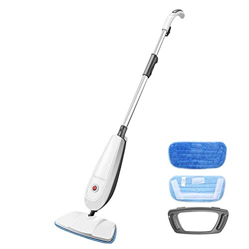 Dampfreiniger, Homasy Dampfbesen mit 1 Reinigungsmop 2 Mop Pads, Steam mop mit kurzer Aufheizzeit Entfernt 99,9% der Bakterien 1200W weiß