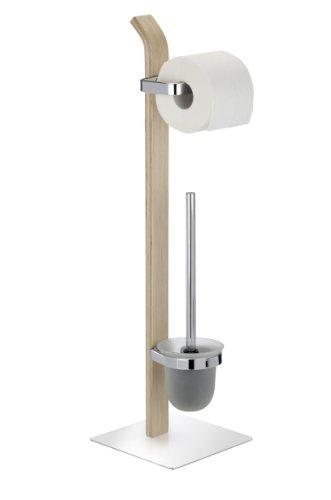 Wenko 203971000 Stand WC-Garnitur Samona Nature - Metall verchromt/Schichtholz, 20 x 71.5 x 20 cm, natur