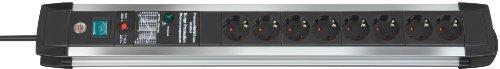 Brennenstuhl Premium-Protect-Line, Steckdosenleiste 8-fach mit Überspannungsschutz - stabiles Aluminium-Gehäuse (3m Kabel und Schalter) Farbe: schwarz