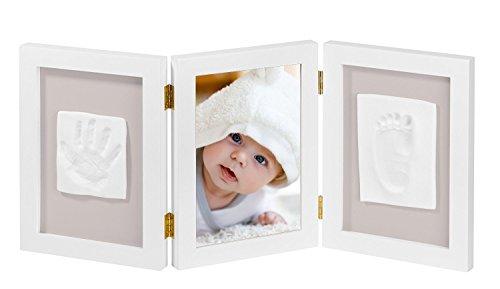 NIMAXI Baby Bilderrahmen mit Gipsabdruck, Größe 35x15cm, Farbe weiß, Bilderrahmen Abdruckset Handabdruck und Fußabdruck
