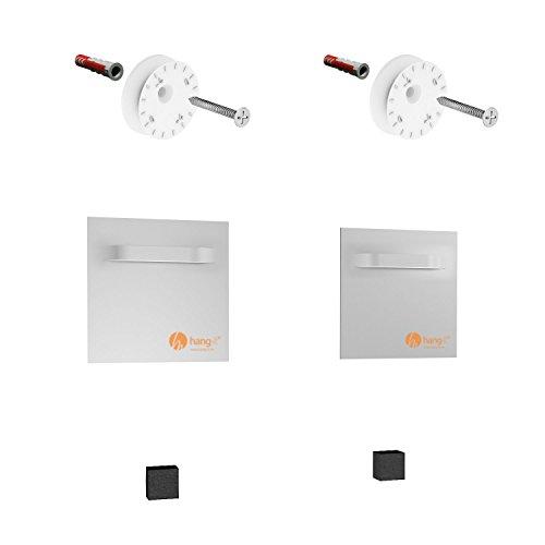 hang-it Spiegelbefestigung Set Premium - 2 Stück Spiegelbleche und Exzenterscheiben - Spiegelhalter