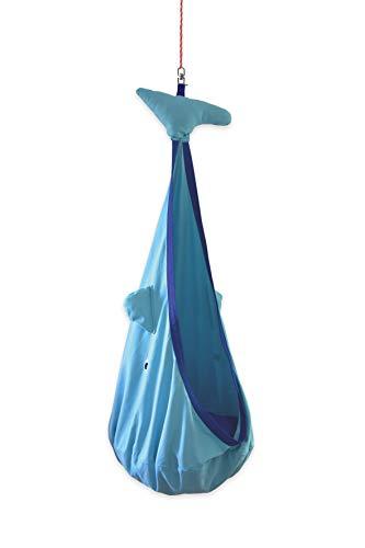 snuutje Hängehöhle für Kinder Willo der Wal (Schadstoff geprüft und GS-Zertifiziert, aus 100% Baumwolle, hält bis 80 kg, mit Zubehör) blau