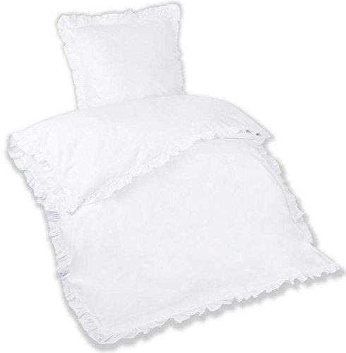 Aminata – romantisches 2-teiliges Bettwäsche-Set mit Rüschen   Baumwolle + Reißverschluss   einfarbige Bettwäsche Garnitur in Weiß im Landhaus-Stil   Bezug mit Volant   Bettwäsche uni weiß 135x200 cm