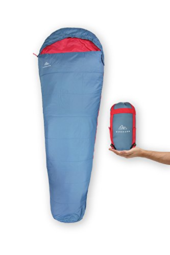 NORDKAMM - Schlafsack ultraleicht, rechts, kleines Packmaß, leicht und dünn, für Erwachsene, Herren, Damen, für Camping, Outdoor, Trekking, Reisen, Sommer, Indoor, Tropen. Zum Verbinden für 2 Personen