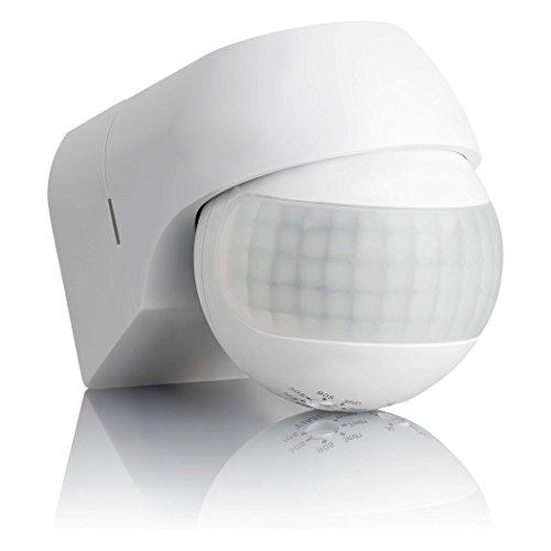 SEBSON Bewegungsmelder Aussen IP44, Aufputz, Wand Montage, programmierbar, Infrarot Sensor, Reichweite 12m / 180°, LED geeignet, schwenkbar