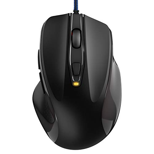 TedGem Maus, Laptop Maus Ergonomisches Wired Mouse 6-Tasten 4 DPI(3200-2400-1200-800), Laptop Mouse Wired 1.5 Meter Geflochtenes Kabel Für Windows 7/8/10 / XP, Vista, Linux und Mac OS(Schwarz)