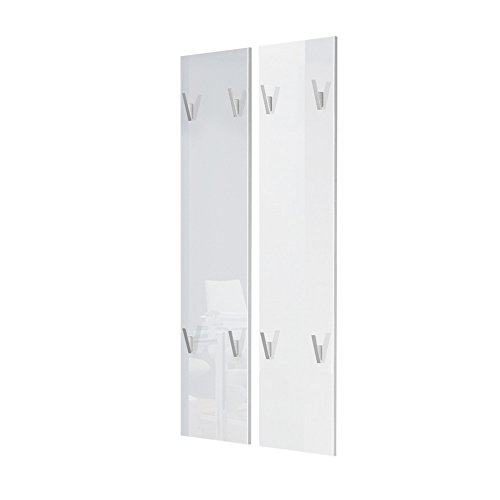 Wandpaneel Garderobenpaneel 120 in Weiß Hochglanz