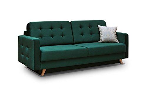 Schlafsofa Kippsofa Sofa mit Schlaffunktion Klappsofa Bettfunktion mit Bettkasten Couchgarnitur Couch Sofagarnitur - CARLA (Dunkelgrün)