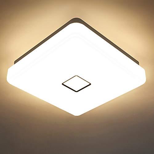 Onforu 24W LED Deckenleuchte 2100LM, IP65 Wasserdicht LED Deckenlampe, 2700K Warmweiß LED Küchenlampe, CRI über 90 Quadratisch Badlampe, Badezimmer Lampe für Wohnzimmer, Schlafzimmer, Küche, Balkon
