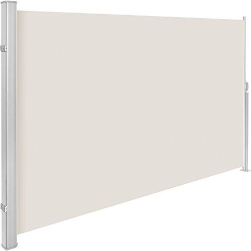 TecTake Seitenmarkise Sonnenschutz Sichtschutz Windschutz | Gehäuse und Standpfosten komplett aus Aluminium | - Diverse Farben und Größen - (Beige | 200x300cm | Nr. 401532)