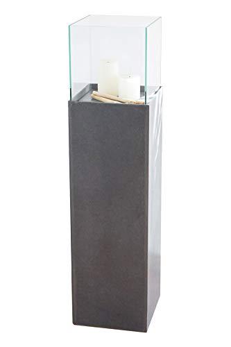 Vivanno Windlicht-Säule Deko-Säule Beton-Optik Anthrazit Candela 100 cm