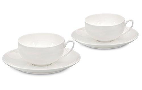Buchensee Teetassen Set / Teeset / Teeservice 4-teilig weiß, Teetassen mit Unterteller 150ml, Fine Bone China Porzellan, Original Aricola