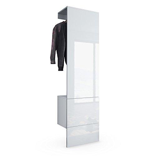 Garderobe Wandgarderobe Carlton Set 5, Korpus in Weiß matt / Paneel in Weiß Hochglanz