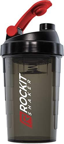 Premium Protein Shaker - 750ml | Made in Germany | garantiert dicht | next Level Mischsystem |Eiweiß Shaker für Fitness, Diät Crossfit Wasserflasche (Schwarz | Rot)