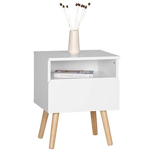 WOLTU Nachttisch TSR58ws Nachtkommode Nachtschrank Beistelltisch Sofatisch, mit Schublade und Offenem Fach, mit Beinen, Holz, Weiß, 40x33,5x50cm(BxTxH)