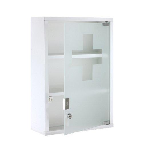 XL Medizinschrank Arzneischrank Metall Glas Weiß