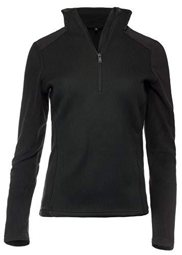 Medico Damen Skishirt Funktionsshirt Fleeceshirt Strickdesign Langarm Schwarz 38
