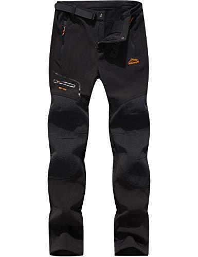 DENGBOSN Herren Wanderhose Wasserdicht Softshellhose Outdoorhose Winddicht Warm Gefüttert Winter Trekkinghose,KZ1602-Black1-XL