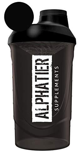 ALPHATIER BEASTMODE Shaker schwarz 600 ml | für unterwegs | Sport Fitness Bodybuilding | mit Schraubverschluss und Siebeinsatz | BPA-frei | Classic