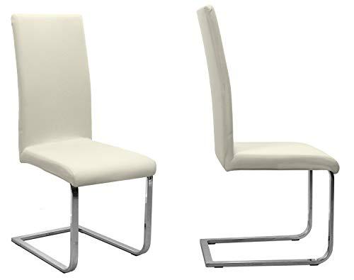 2er Set Jersey Stuhlhusse (Farbe wählbar), elastische Uni Stretch-Husse aus Baumwolle Bi-Elastisch (Creme)