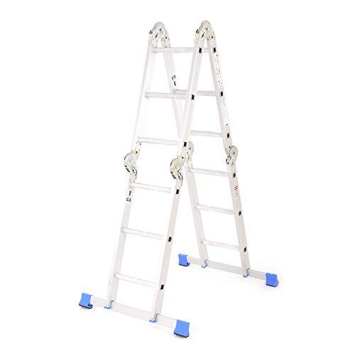 Leiter mit Gelenken - Hohe Alu Stehleiter Mehrzweckleiter Multifunktionsleiter 4x3 Stufen mit Plattform faltbar TÜV 150 kg Traglast