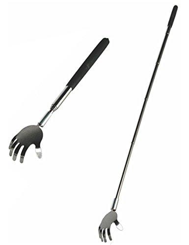Ausziehbarer Metallrückenkratzer mit gummiertem Griff, Hand, circa 70 cm
