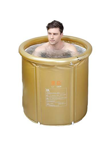 ESPERANZAXU Aufblasbare Badewanne Falten PVC Kunststoff Portable Erwachsenen Jacuzzi, Spa SPA Wanne (Gold)