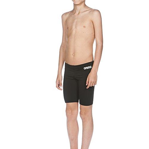 arena Jungen Trainings Badehose Solid Jammer (Schnelltrocknend, UV-Schutz UPF 50+, Chlorresistent, Kordelzug), Schwarz (Black-White), 164