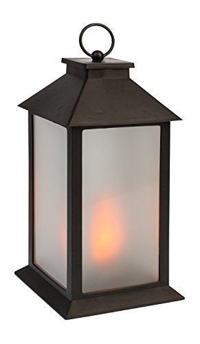 Idena 31095 - Laterne mit 54 LED in flackernder Flammenoptik, mit 6 Stunden Timer Funktion, Batterie betrieben, für Hochzeit, Party, Deko, Weihnachten, als Stimmungslicht, ca. 14 x 14 x 28 cm