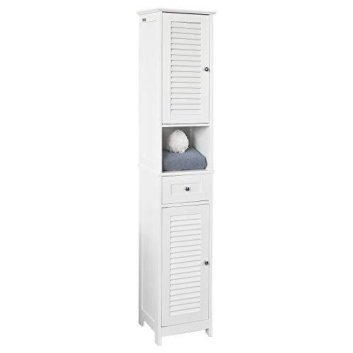 SoBuy FRG236-W Badezimmer-Hochschrank Badregal Badschrank Badmöbel mit 1 offenem Fach, 1 Schublade und Türen, weiß BHT ca: 32X170X30cm
