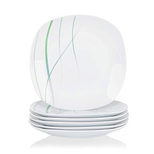 VEWEET, Porzellan Speiseteller 'Aviva' 6-teilig Set | Durchmesser 24,7 cm | Ergänzung zum Tafelservice 'Aviva' | Essteller für 6 Personen