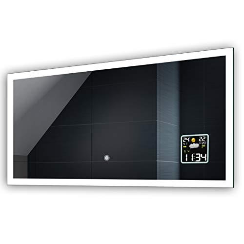 Badspiegel mit LED Beleuchtung und Touch Schalter, LED Uhr, Heizmatte - Individuell Nach Maß - Beleuchtet Wandspiegel Lichtspiegel Badezimmerspiegel - LED Farbe zu Wählen Kaltweiß/Warmweiß L01