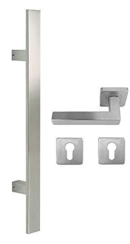 Edelstahl Haustür Beschlag- Flachgriff- Set auf quadratischen Rosetten 841S Länge: 600 mm
