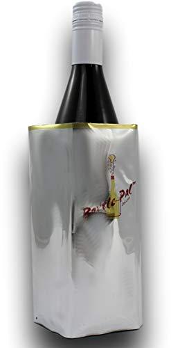 3 x Premium Flaschenkühler, 3 Stück Kühlmanschette zum Kühlen von Flaschen, von BioMark mit Klettverschluss (41cm x 19cm) 0,5 bis 1 Liter Flaschen (Silber Gold)